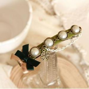 pearl bow clip hair accessory hairp..