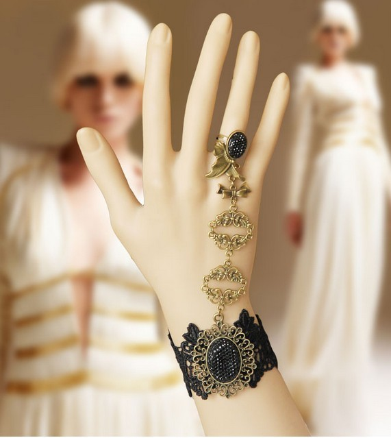 Handmade fashion black lace butterfly ring indian dance female bracelet finger chain gift
