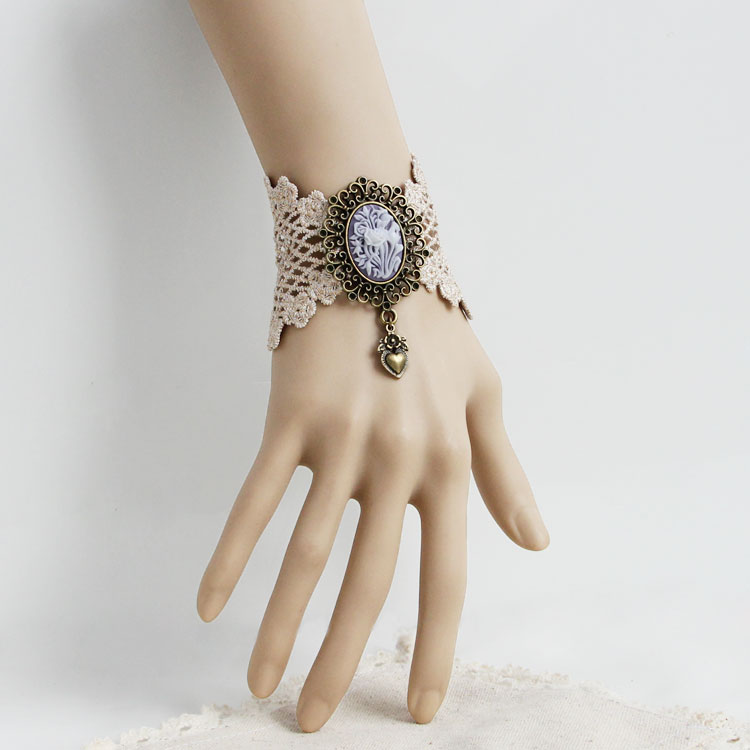 Handmade Quality vintage lace bracelet with ring DIY jewelry gift fashion women accessories bracelets bangles (WS-290)